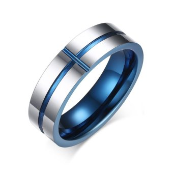Harga 2017 Fashion Blue Cross Line Tungsten Ring Wedding Brand 6MM Tungsten Carbide Rings for Men Jewelry - intl