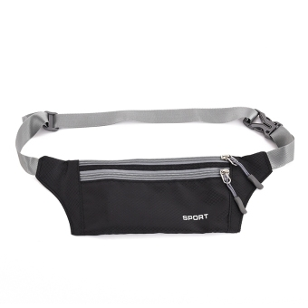 Harga Running Belt Bum Waist Pouch Fanny Pack Camping Sport Hiking Zip Bag Black