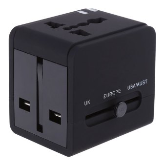 Harga Universal Worldwide Travel Power Plug Wall AC Adapter Charger with Dual 3.1A USB Charging Ports (BLACK)