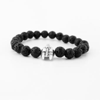 Harga Men Black Lava Rock Stone Beaded Helmet Bracelet - intl