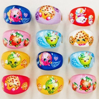 Harga 20pcs Party Favors Wholesale Mixed Lots Lovely Cartoon shopkins toy Kids Ring Girls Rings party supplies Birthday Gift - intl