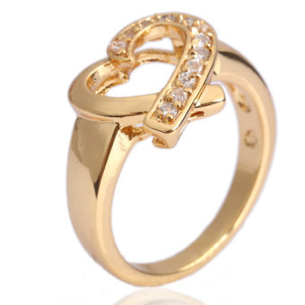 Harga Glisten Heart Finger Ring Diamante Jewelry 18K Gold Fil USA #7