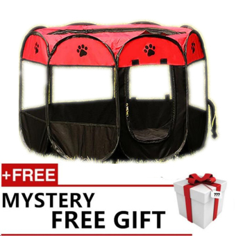 Harga Pet Dog Bed Kennel Play Pen Soft Playpen Cage Folding Crate Red – Lsize free gift Buy 1 Get 1 Free - intl