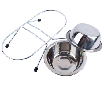 EOZY 34cm Double Stainless Steel Dog Bowls Food Container Anti Slip Puppy Cat Food Drink Water Dish (Silver) - 3