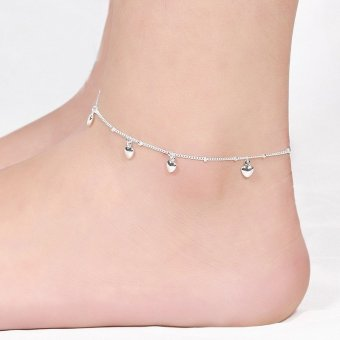 Korean Style 925 Silver Plated Heart Shape Silver Chain Anklet Ankle Bracelet Barefoot Sandal Beach Foot Jewelry Gift for Girl Women(EXPORT) - INTL ...