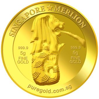 Harga Puregold 5g SG Merlion Fountain Gold Coin