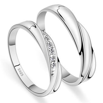 Harga Fashion Lovers Rings Silver Adjustable Couple Ring Jewelry E004 - intl