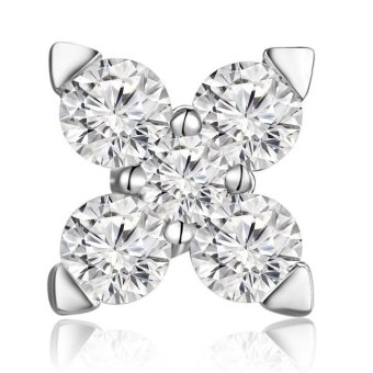 MaBelle 18K White Gold Diamond Accent Leaf Cross Single Stud Earring (0.11 cttw, G-H Color, SI1 Clarity)