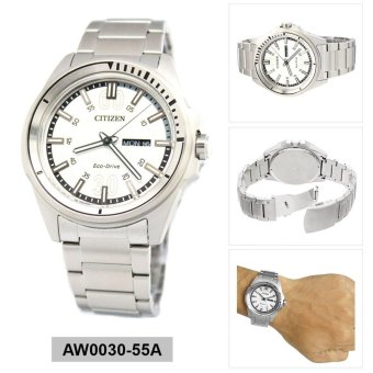 Harga Citizen Watch ECO-DRIVE Silver Stainless-Steel Case Stainless-Steel Bracelet Mens Japan NWT + Warranty AW0030-55A