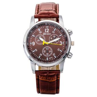 Hot Geneva Leather Strap Band Analog Quartz Wrist Watch - BROWN - 2