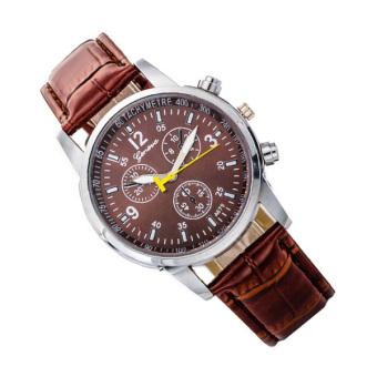 Hot Geneva Leather Strap Band Analog Quartz Wrist Watch - BROWN - 3