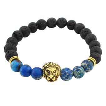 Harga Black Lava Stone Lion Beaded Unisex Bracelet blue+ bronze