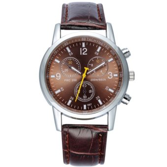 Harga New Fashion Mens Watches Business Quartz Watches Waterproof Wristwatch Metal Alloy Leather Strap Watches - Coffee - intl