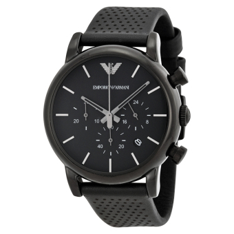 Harga Emporio Armani Classic Chronograph Men's Black Dial Black Leather Watch AR1737