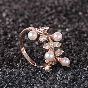 Harga CADIS 24K Golden Beautiful Pearl And Flower Rings - intl