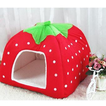 Harga Fleece Dogs Tent Bed Pet House Foldable Soft Warm Strawberry Cave Cat Dog Bed Cute Kennel Nest Dog ( M - Red ) 31x31x33CM - intl