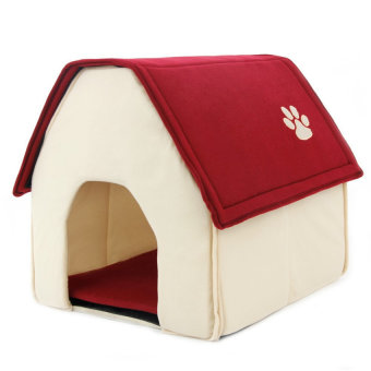 Harga Cute House Shape Dog Bed Cat Bed Warm Soft Dogs Kennel ( Red)