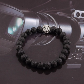 Harga Fancyqube Fashion Jewelry Gold color Plated Buddha Leo Lion Head Bracelet Black Lava Stone Beaded Bracelets For Men Women Silver1 - intl