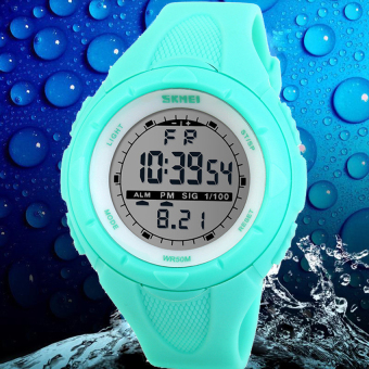 SKMEI Luxury Women Sports Watch Water Resistance Digital LED Outdoor Wristwatches Fashion Casual Watches (Light Blue)