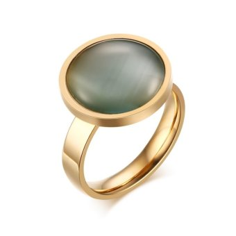 Harga 3 colors Pink /Grey /Brown Classic Stainless Steel Women Opal Cats Eye Stone Ring Party Jewelry - intl