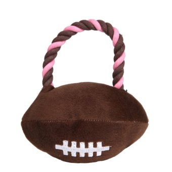 Harga Sport Plush Rope Braied Ball Puppy Dog Squeaker Interactive Pet Toys (Rugby) (Brown) - intl
