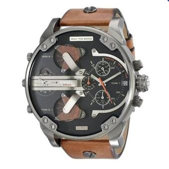 Harga JOOX 2017 Diesel Men's DZ7314 The Daddies Series Stainless Steel Watch With Brown Leather Band(Brown) - intl