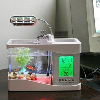 USB Desktop Mini Fish Tank Aquarium with LED Clock (White) - intl - 2