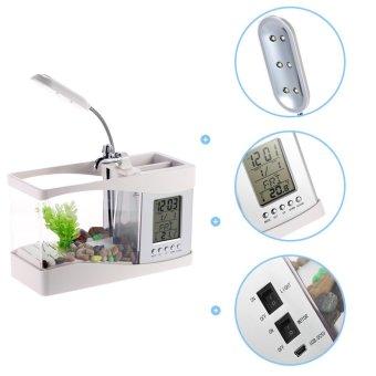USB Desktop Mini Fish Tank Aquarium with LED Clock (White) - intl - 4