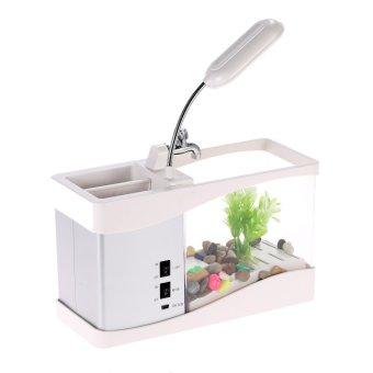 USB Desktop Mini Fish Tank Aquarium with LED Clock (White) - intl - 3