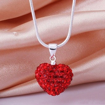 Harga Fashion Heart Crystal 925 Sterling Silver Snake Chain Pendant Necklace Jewelry