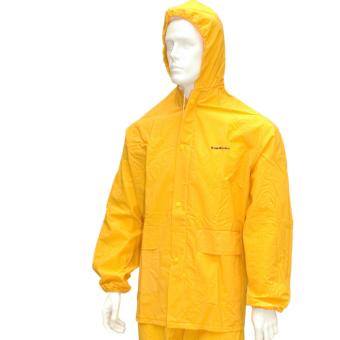 RAINSUIT WITH HOOD AND PANTS FOR MOTORBIKE (YELLOW), size M - 2