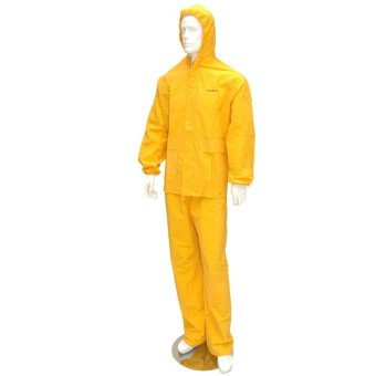 RAINSUIT WITH HOOD AND PANTS FOR MOTORBIKE (YELLOW), size M