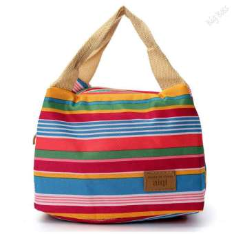 Harga Women Kids Canvas Stripe Lunch Bags Portable Insulated Bolsa BagRed - intl