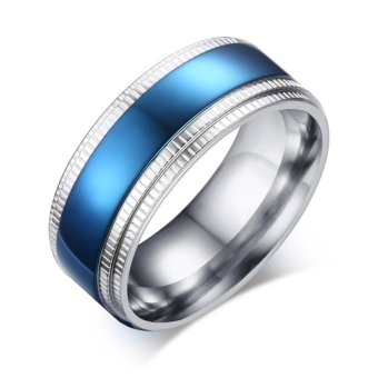 Harga 2017 New 8mm Stainless Steel Middle Blue Ring Mens Jewelry Size:8-11 - intl