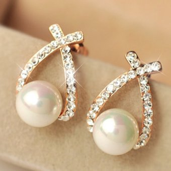 CADIS 24K The Beauty Of The Gloden Pearl Stud Earring - intl