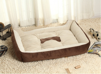 Harga Plus Size Large Dog Bed Kennel Mat Soft Pet Dog Puppy Warm Bed House Plush Cozy Nest Dog House Pad Warm Pet House(Brown)(XL--90*70cm)