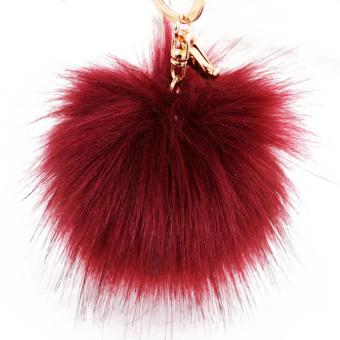 Harga 10cm Diameter Fluffy Imitation Fox Fur Ball Hanging Pendant Keychain Key Ring Chain for Bag Purse Pouch Accessories Decoration Wine Red - intl