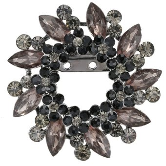 Harga Large Flower Rhinestone large flower setting black diamond clip Brooch Wedding Bridal Broach New(Export) - Intl