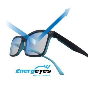 ENERGEYES Computer Glasses Protect Eyes and Cut Blue Light by 50% Adult Rectangle Black Front and Tangerine Orange Back - 2