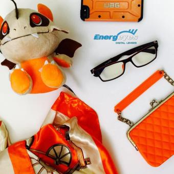 ENERGEYES Computer Glasses Protect Eyes and Cut Blue Light by 50% Adult Rectangle Black Front and Tangerine Orange Back - 5