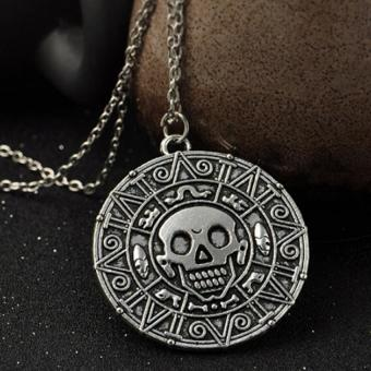 Harga Pirates of the Caribbean Aztec Gold Coin Necklace Mens Skull Pendant Jewelry (EXPORT) - Intl
