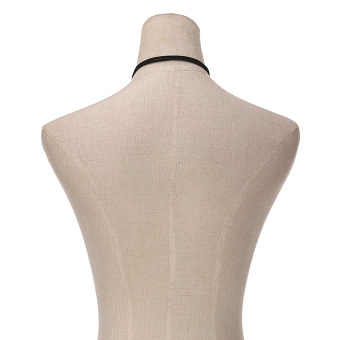 Women Fashion Silver Bar Black Faux Suede Rope Boho Style Cord String Choker Necklace Wrap Tie Bolo Black - 4