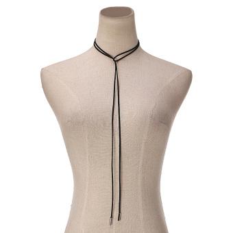 Women Fashion Silver Bar Black Faux Suede Rope Boho Style Cord String Choker Necklace Wrap Tie Bolo Black - 2