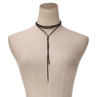 Women Fashion Silver Bar Black Faux Suede Rope Boho Style Cord String Choker Necklace Wrap Tie Bolo Black - 3