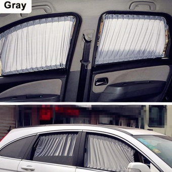Harga 2 x 50s Car Sun Shade Window Curtain Gray - intl