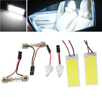 Harga 2x HID Saving 36 COB LED Panel Light For Car Auto Interior Dome White Lamp - intl