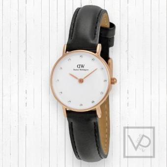 Harga Daniel Wellington Classy Sheffield White Diamond Dial Ladies Quartz 26mm Black Leather Watch 0901DW