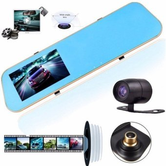 Harga HD 1080P Dual Lens Car Dash Cam Rearview Mirror Camera Rear Video Recorder DVR - intl