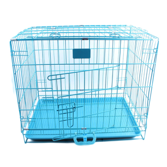 Harga Small Folding Pet Dog Cat Crate Cage Kennel With Plastic Tray(Blue) - intl