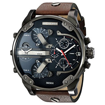 Harga Diesel Men's DZ7314 The Daddies Series Stainless Steel Watch With Brown Leather Band - Intl